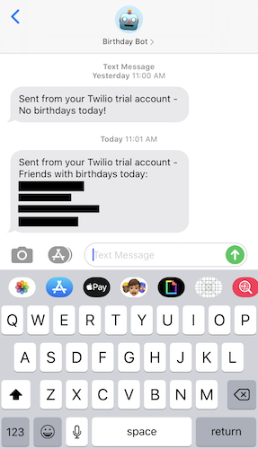 A screenshot from an iPhone with sample birthday bot text messages