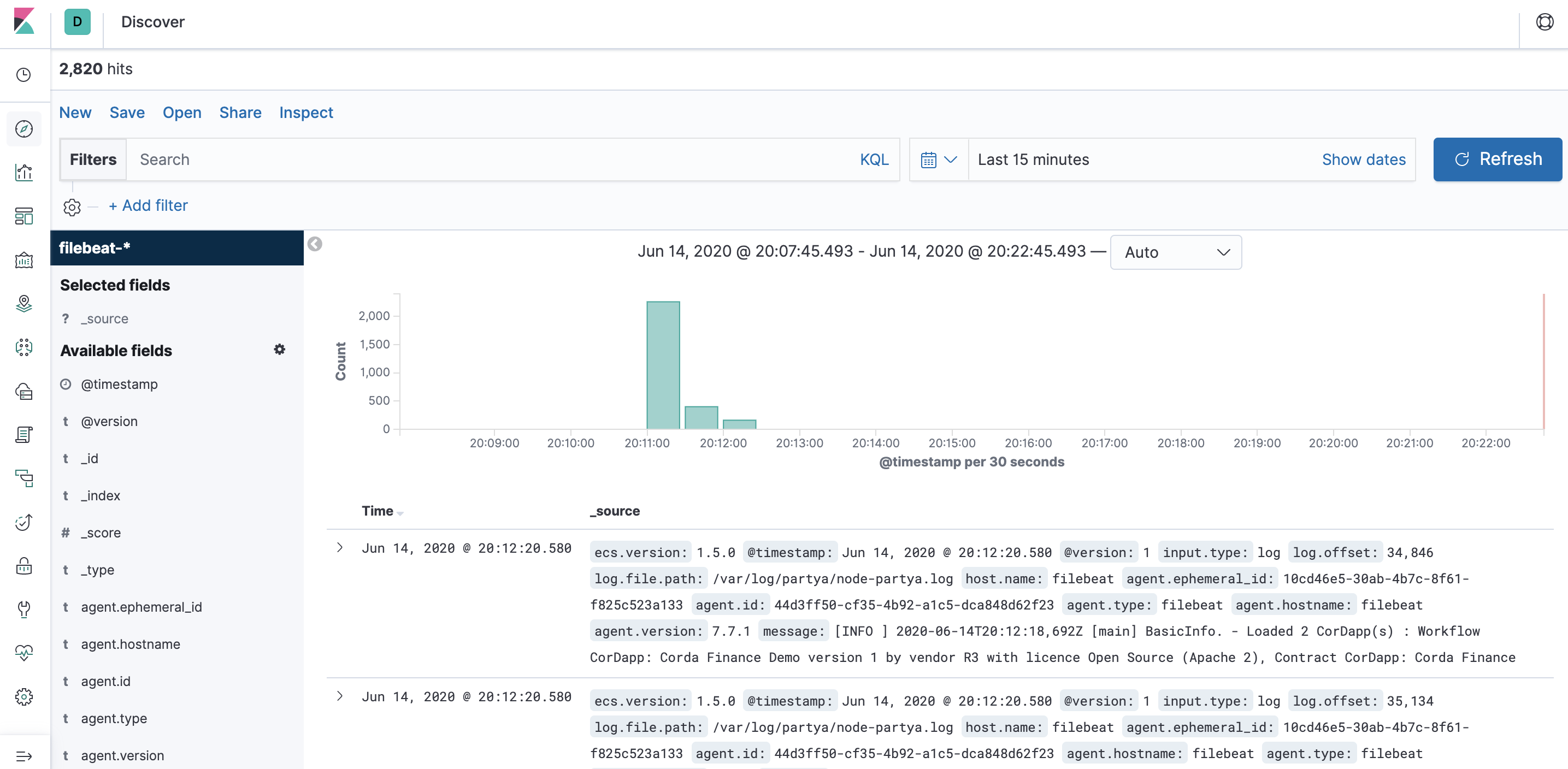 Kibana Discover viewing log files from Corda nodes