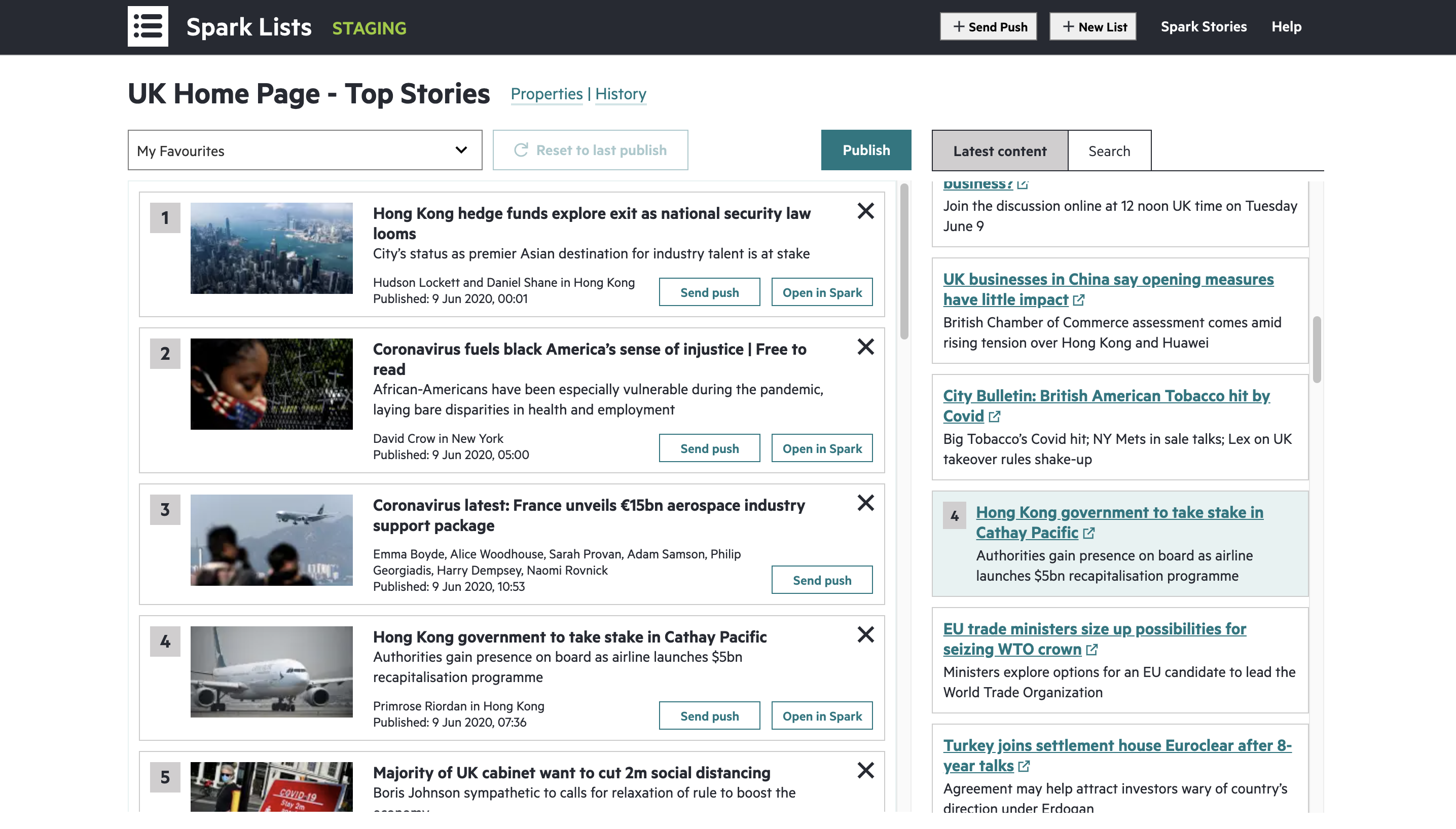 Screenshot of Spark Lists — application for managing the top stories on the FT homepage