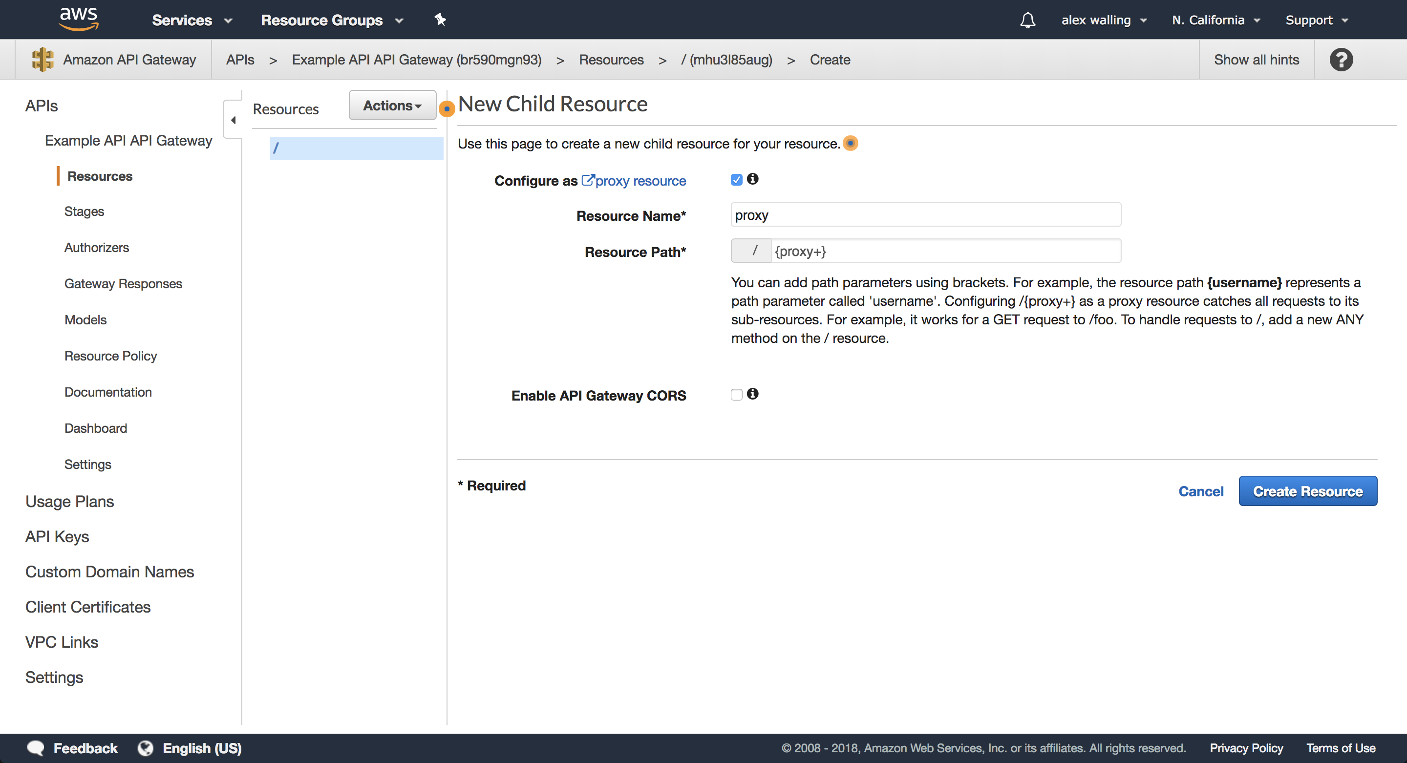 Proxy resource definition page