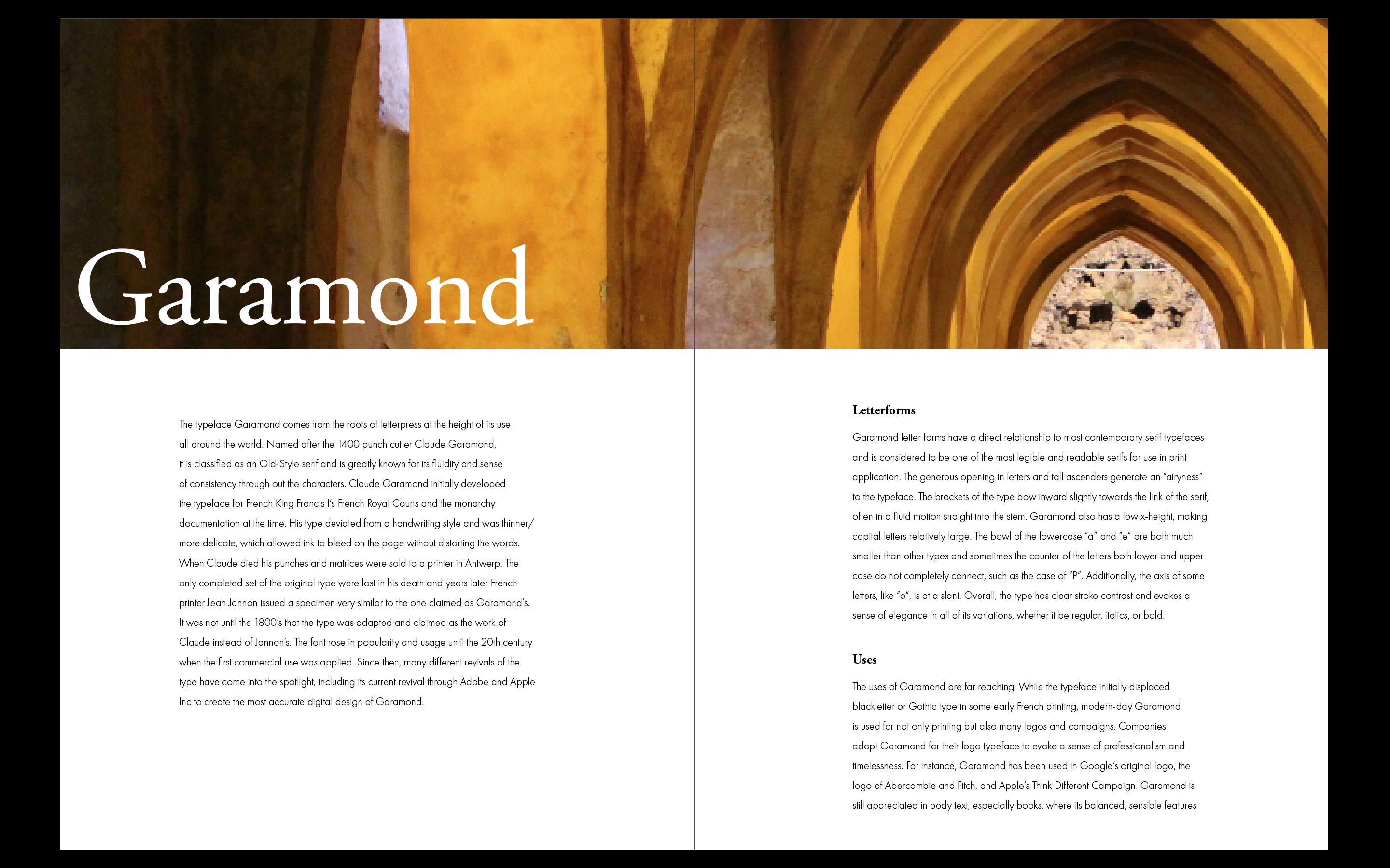 Typeface: Garamond - Carolyn Chheath - Medium