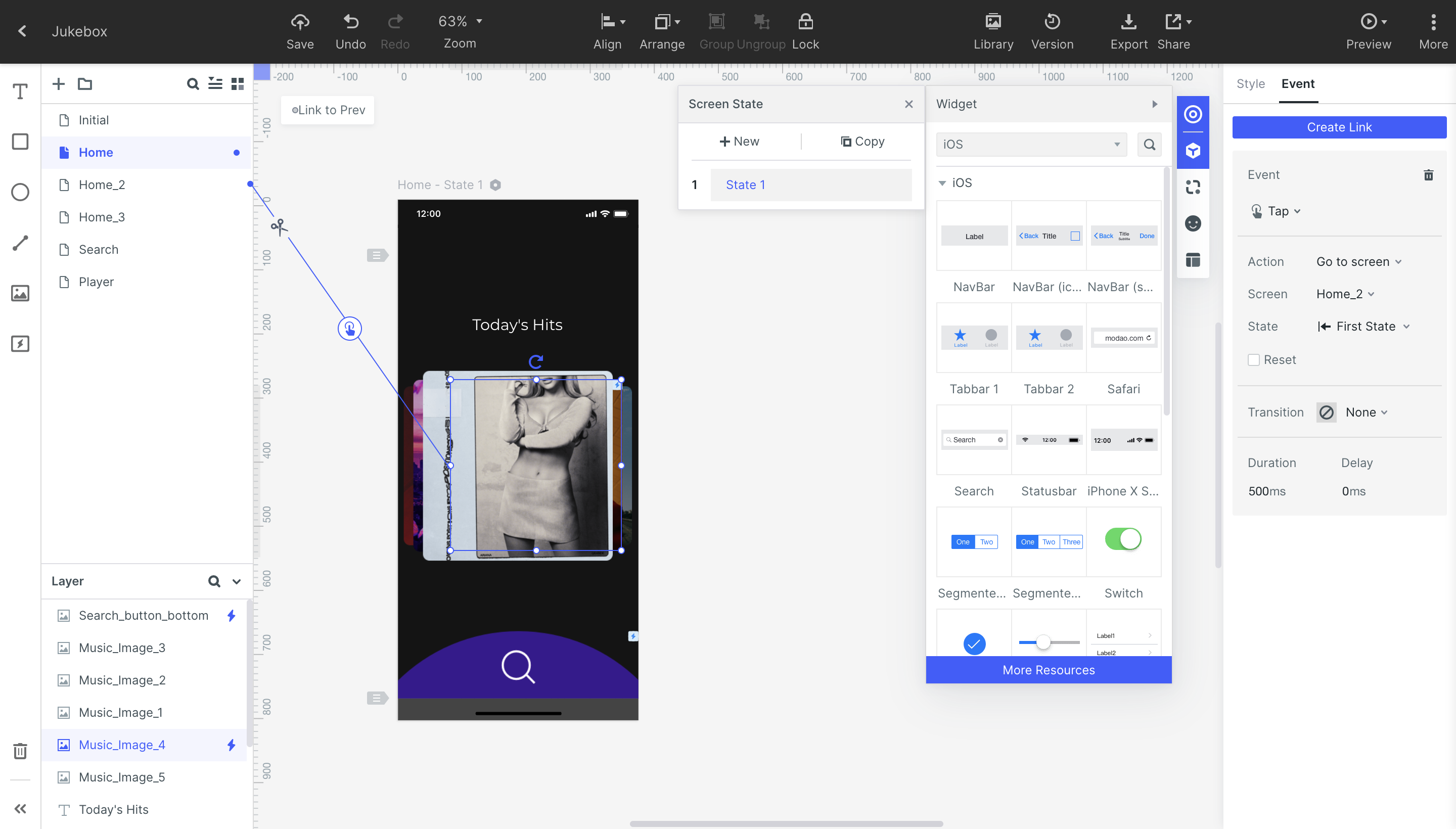 Event feature to create the interaction in Wondershare Mockitt.