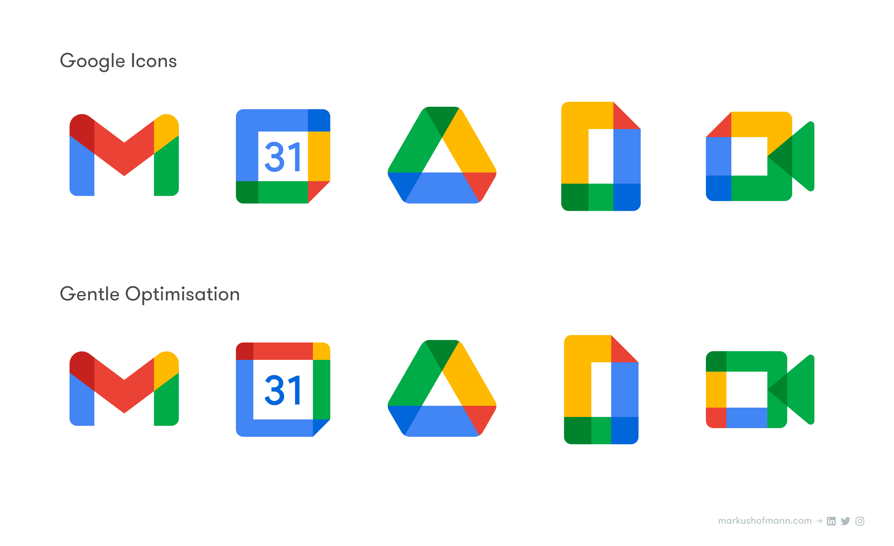 Comparison of Google's new Workplace icons and my optimised, more distinct versions