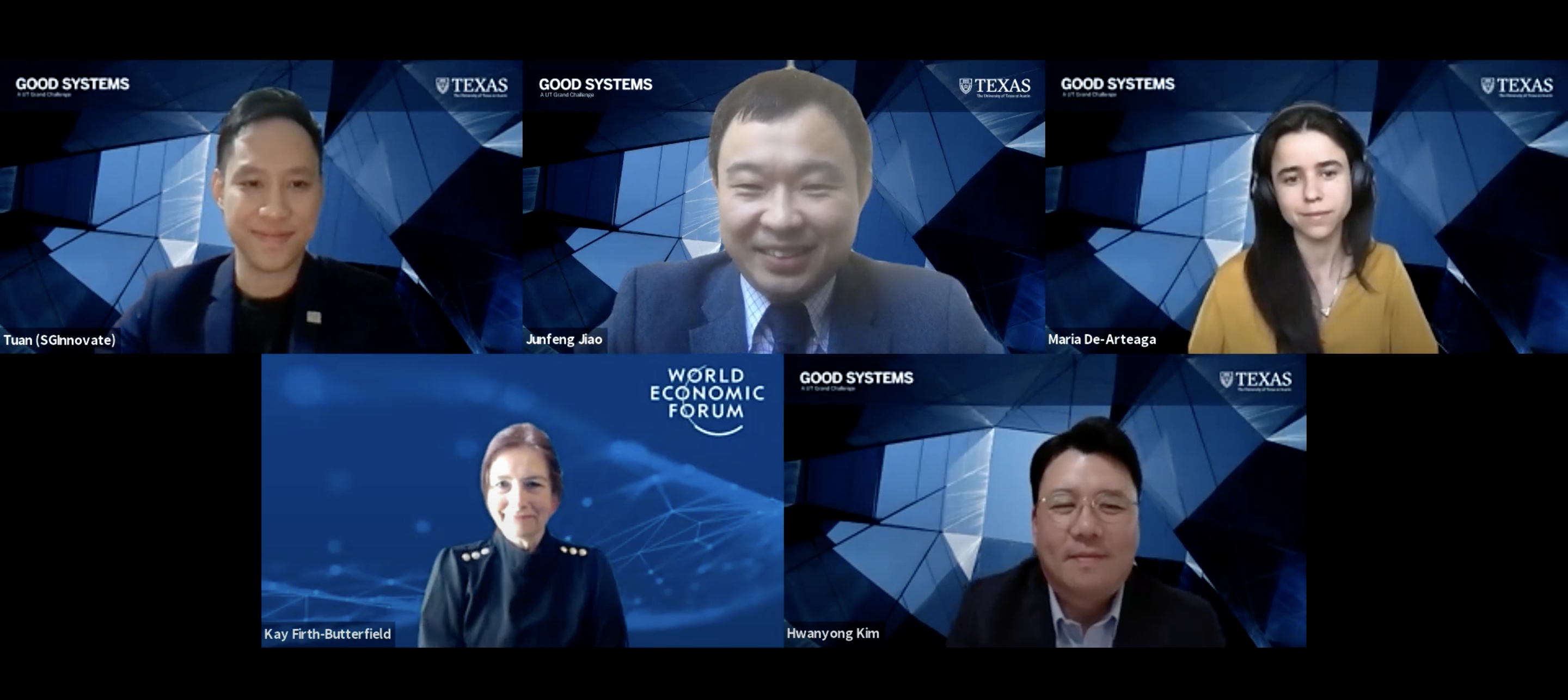 Zoom video image of five university, industry and machine learning experts participating in a virtual forum.