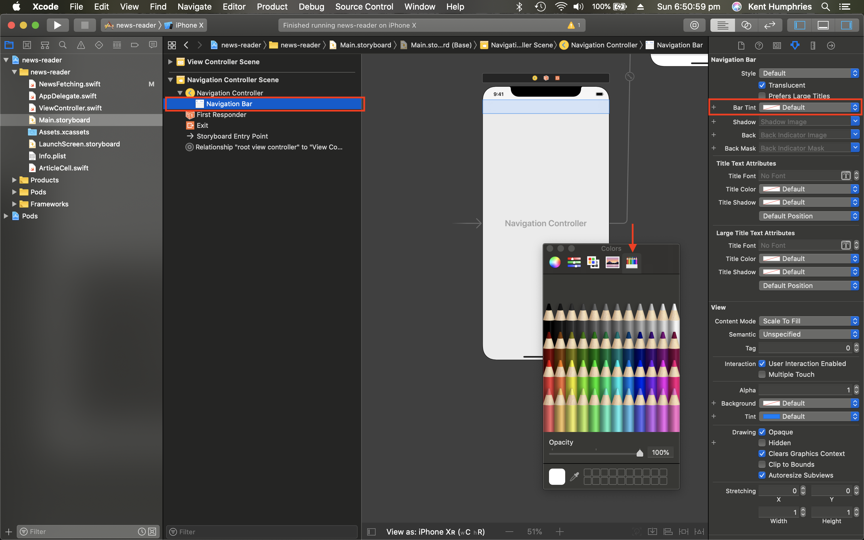 A screenshot of Xcode with parts of the window highlighted