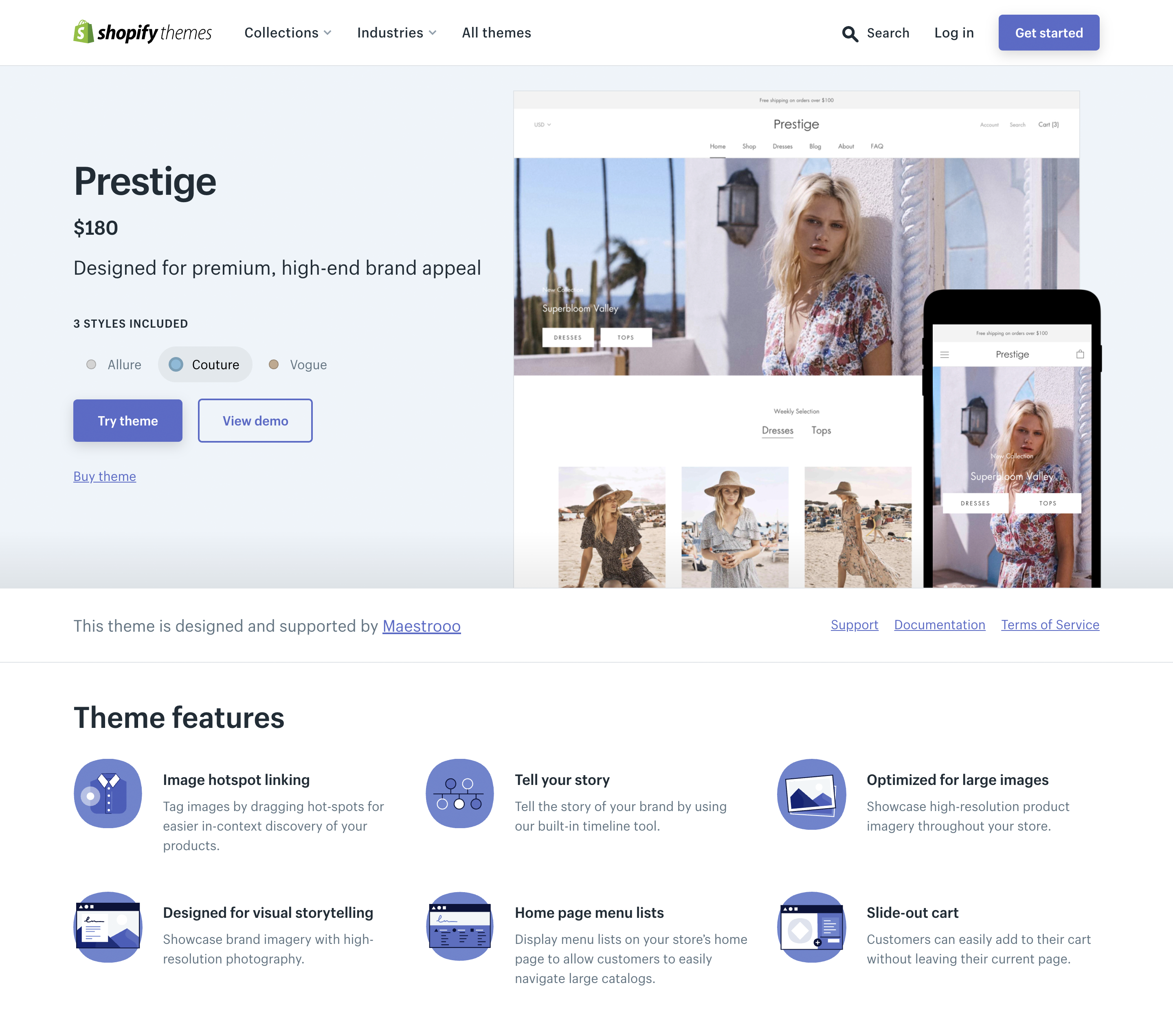 Prestige—Designed for premium, high-end brand appeal—Shopify Theme