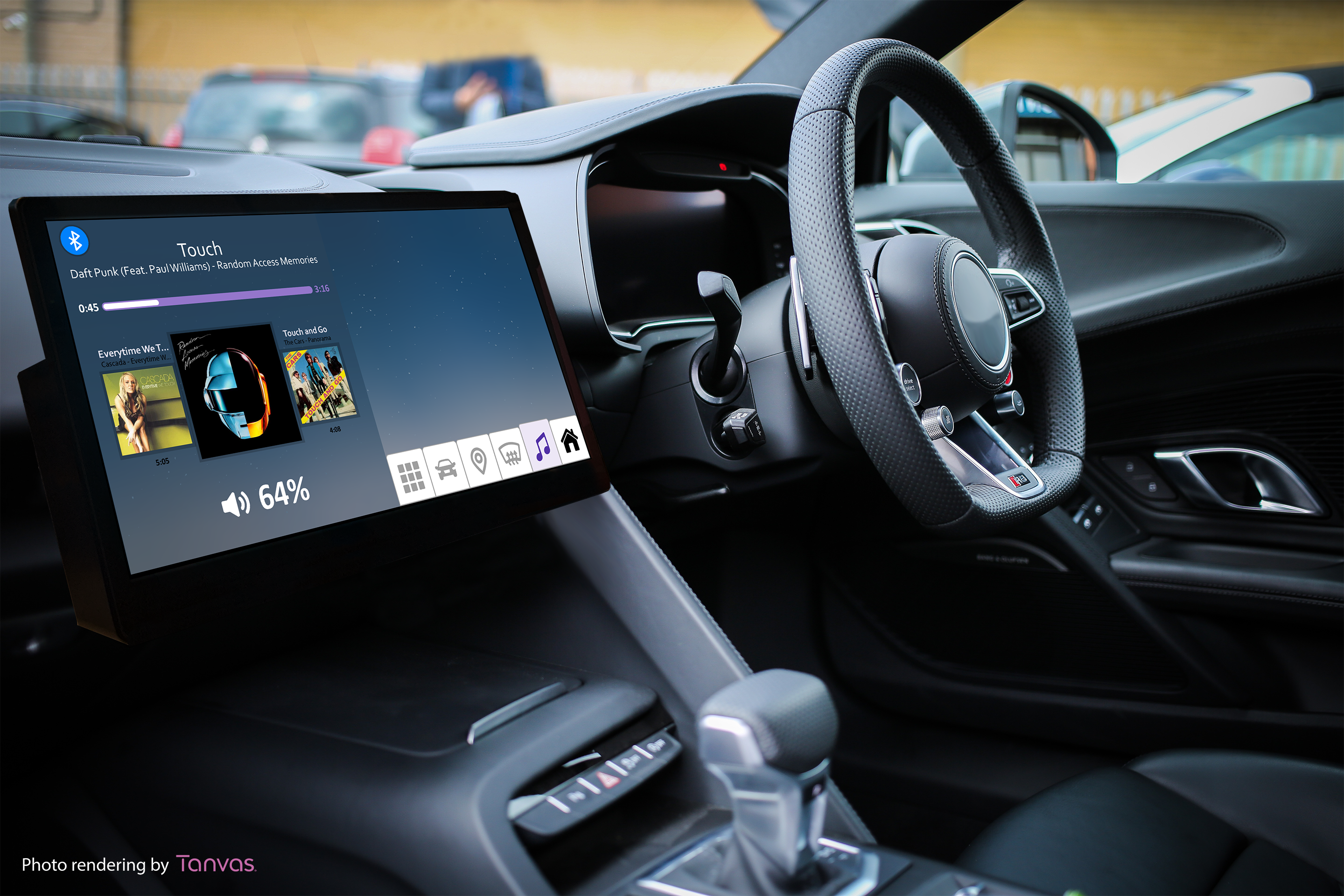 Automotive dashboard with music controls displaying how TanvasTouch surface haptics can be felt without looking