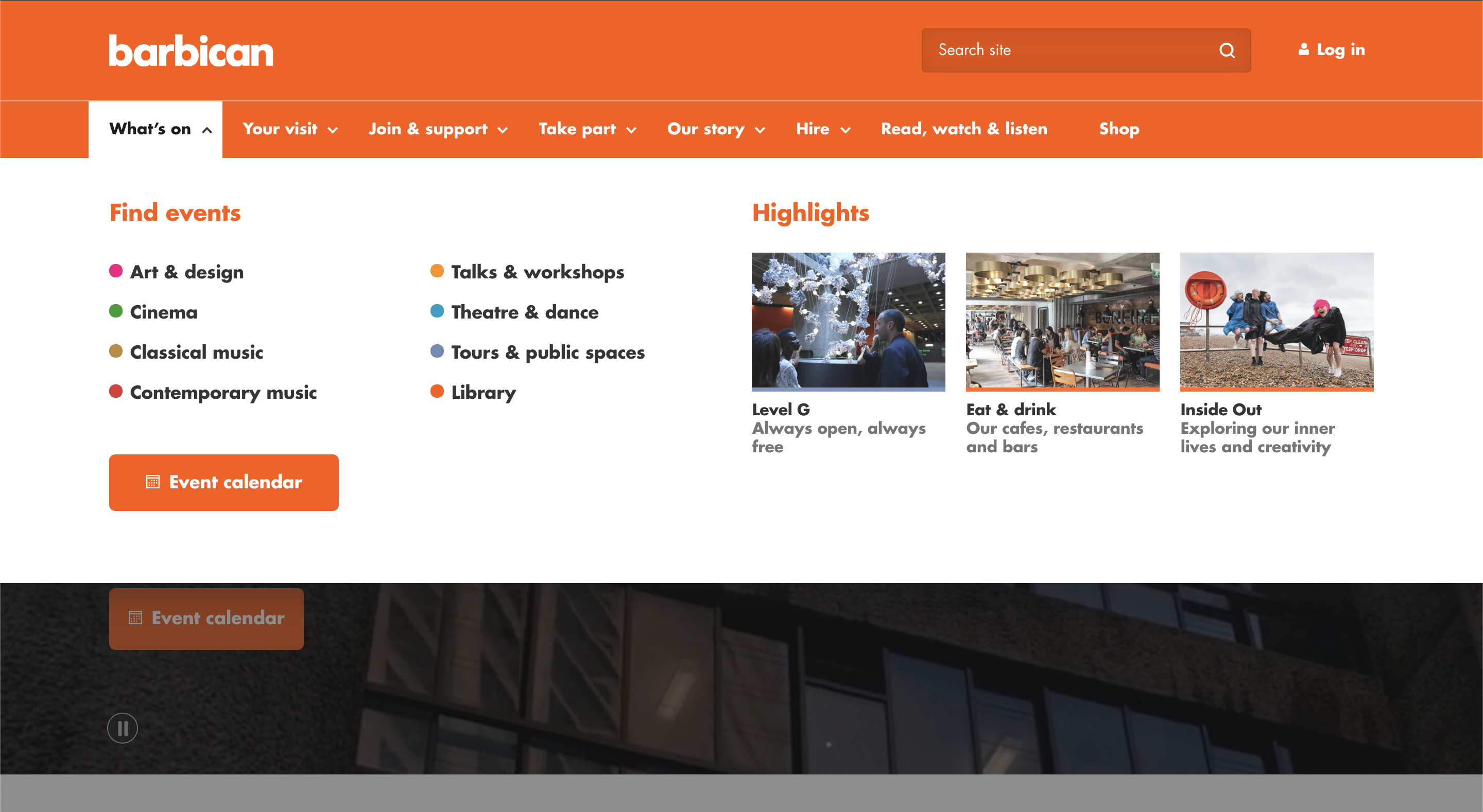 Barbican homepage with drop-down mega menu open