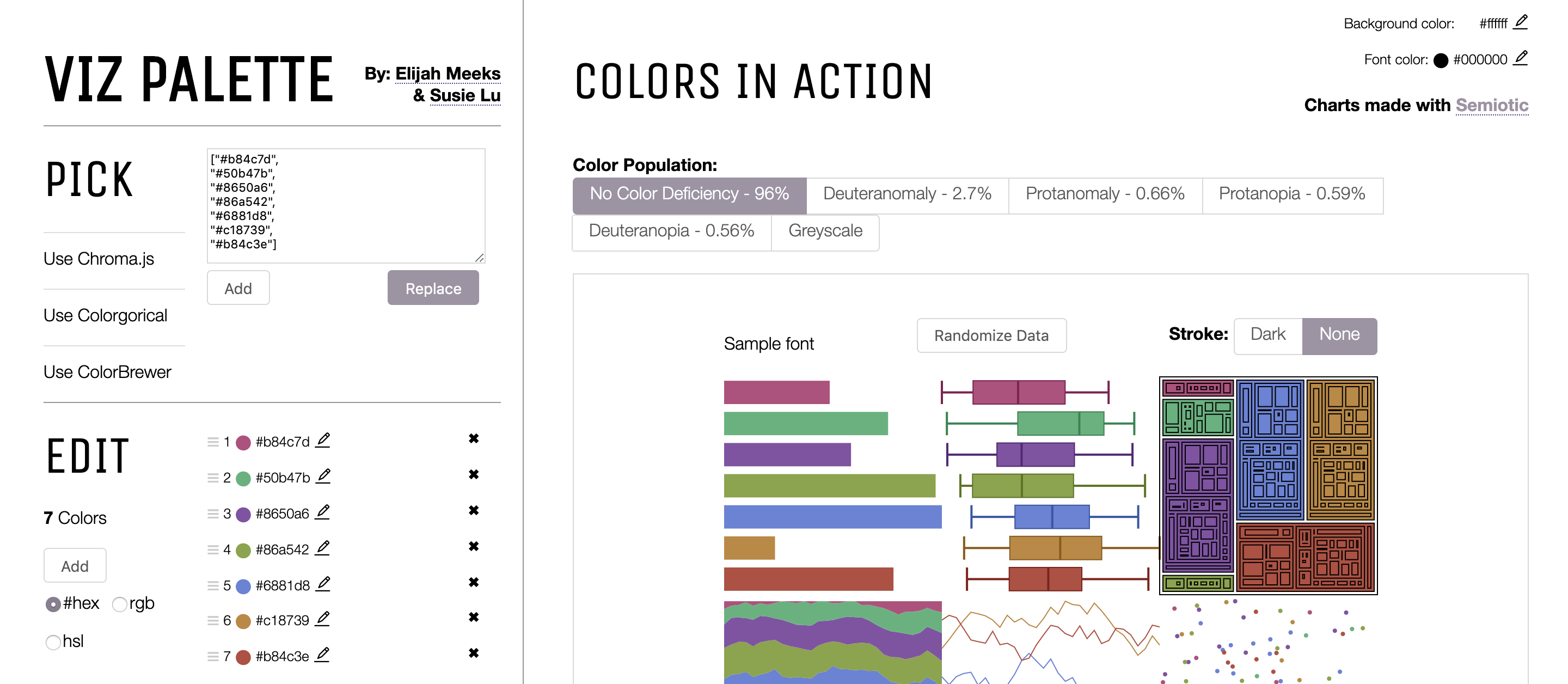 Screenshot of the Viz Palette site depicting a random palette generated from i want hue.