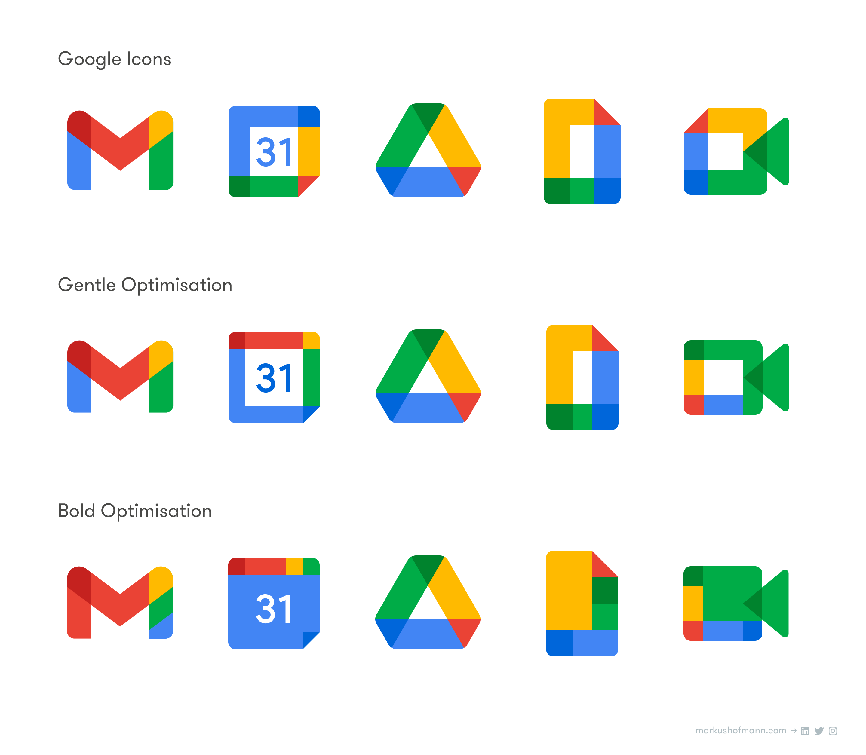 Comparison of Google's new Workplace icons and my gently optimised as well as bold, more distinct versions