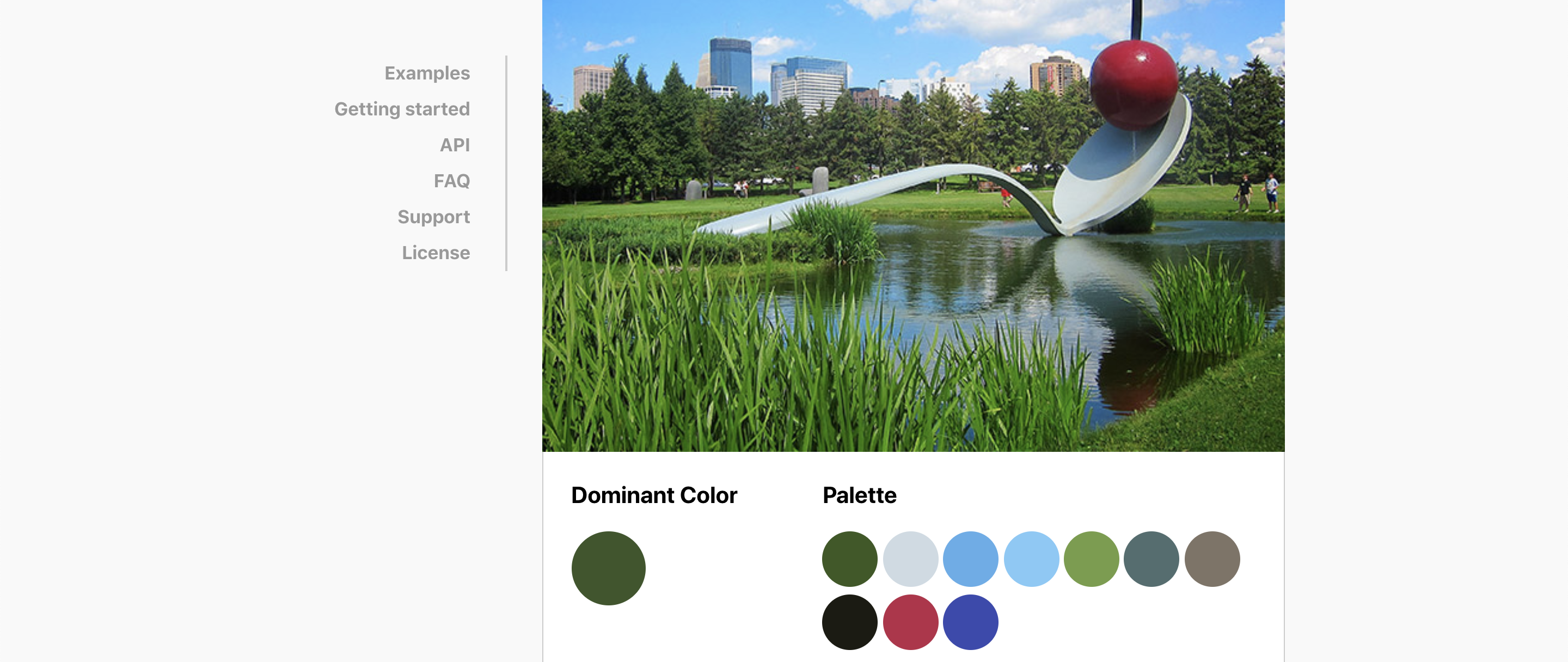 Screenshot of the Color Thief site showing a palette generated from a demo image.