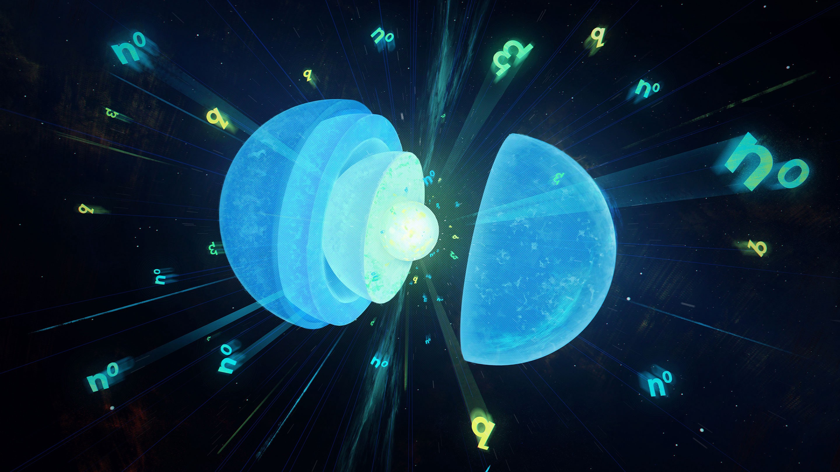 """A 3D animation of the ideated """"crunchy crust"""" of neutron star, and squishy or solid quantum fluid in it. A lot blues, greens."""