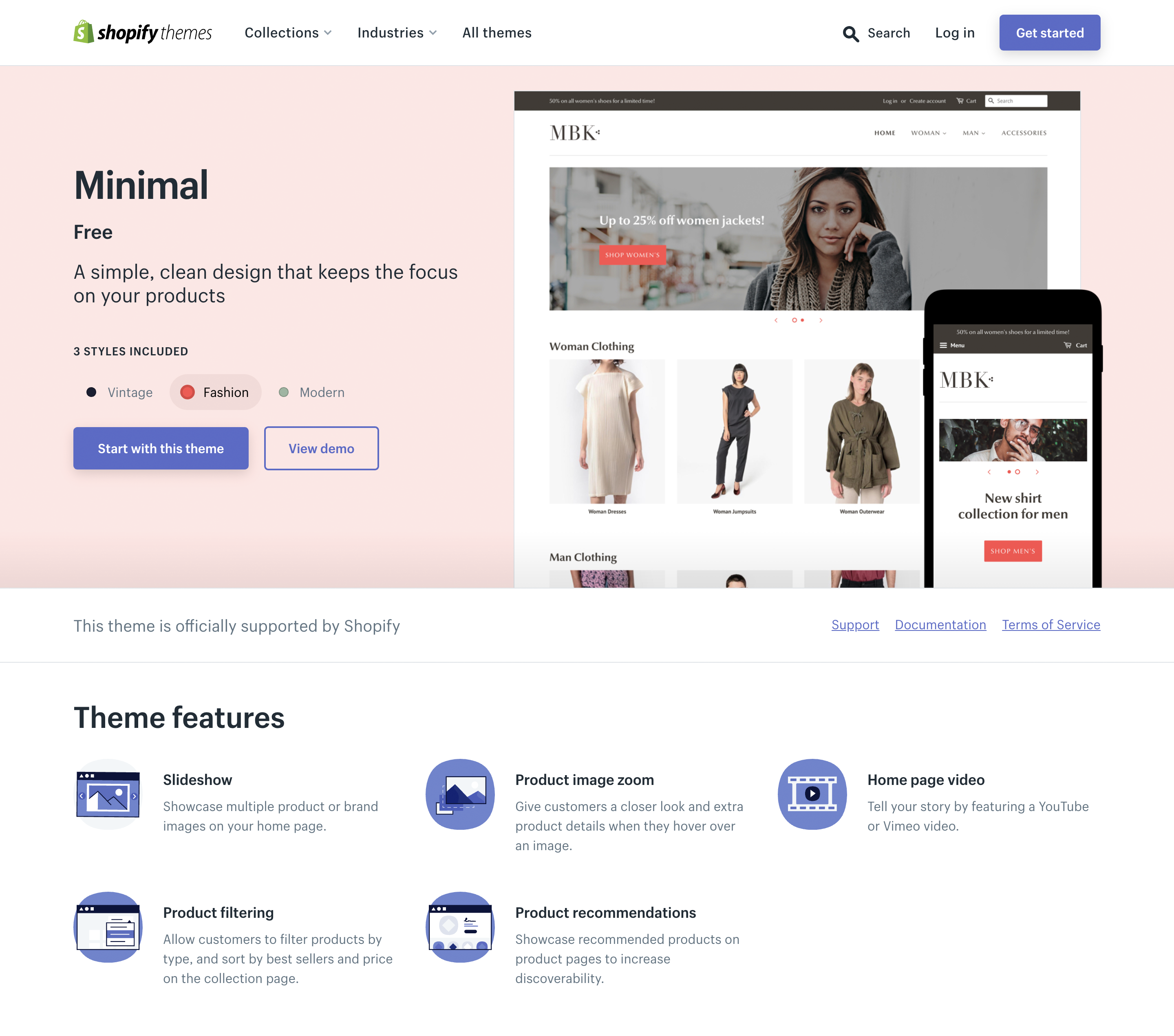 Minimal—A simple, clean design that keeps the focus on your products—Shopify Theme