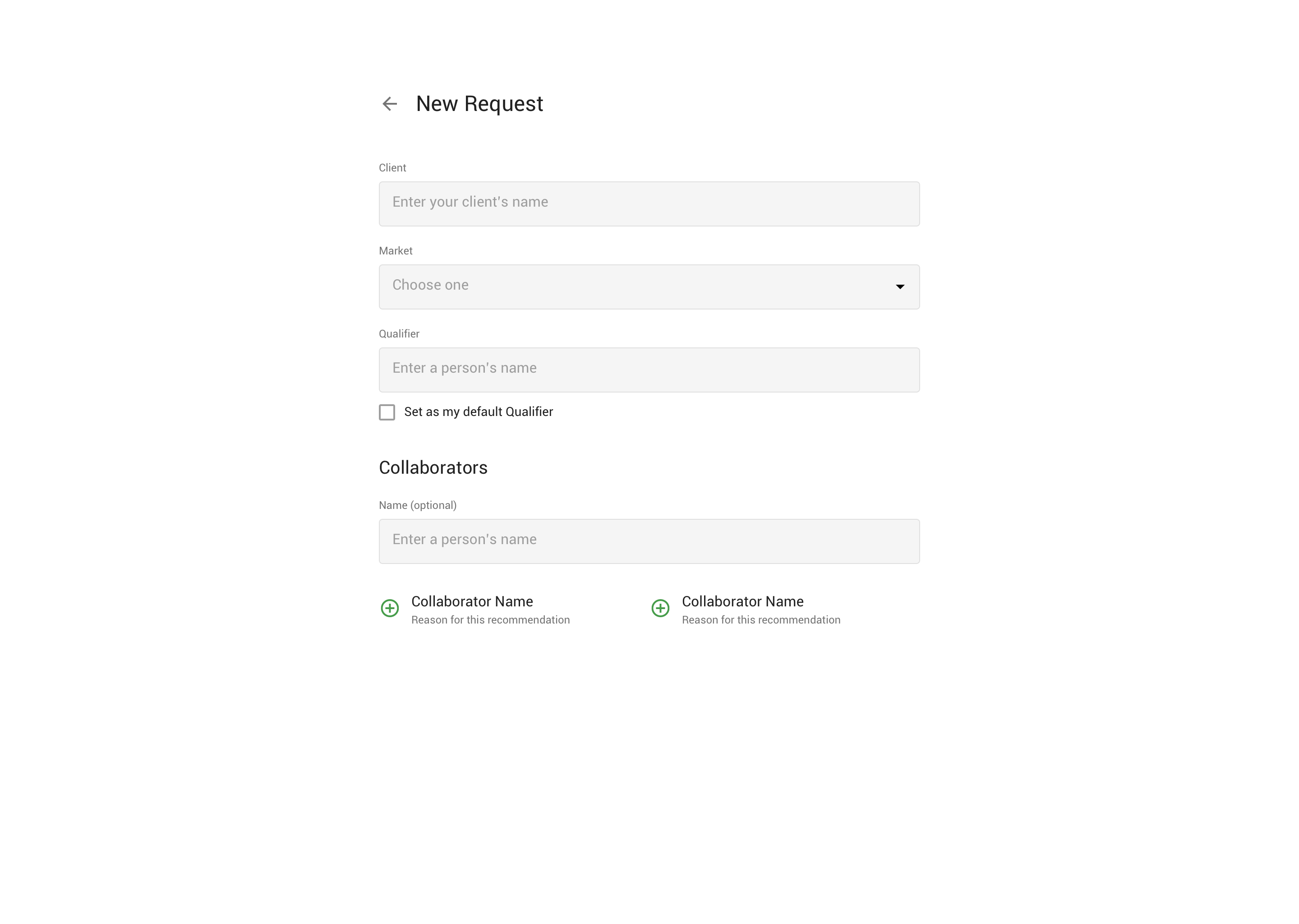 A form interface.
