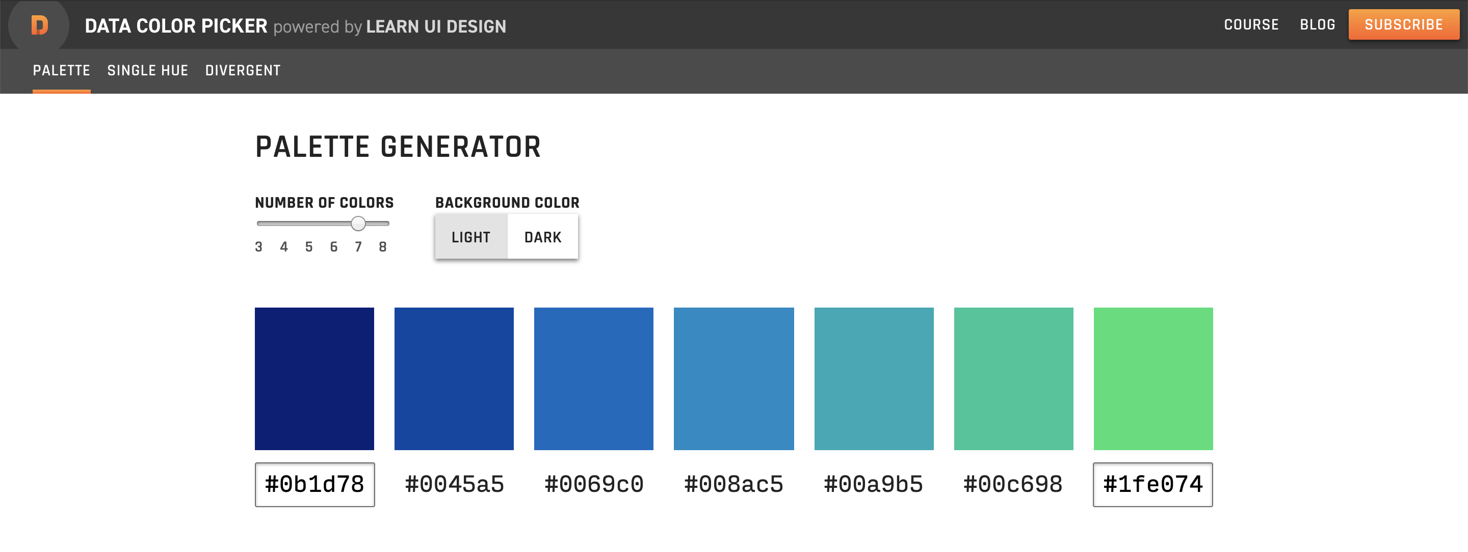 Screenshot of the Data Color Picker site with a blue-to-green sequential palette.