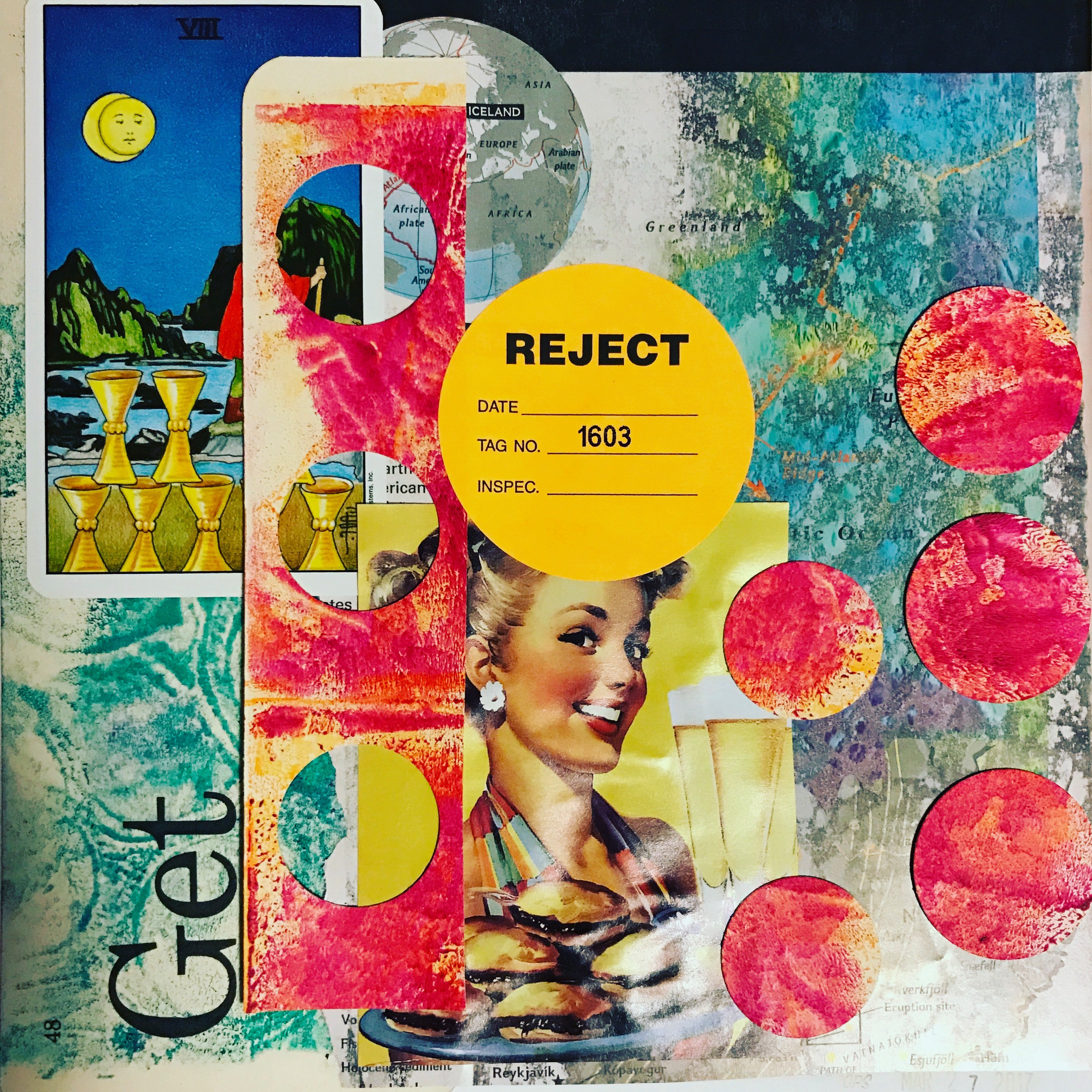 collage coral colored circles over blue & purple with a woman's face in the center and an orange sticker with the reject