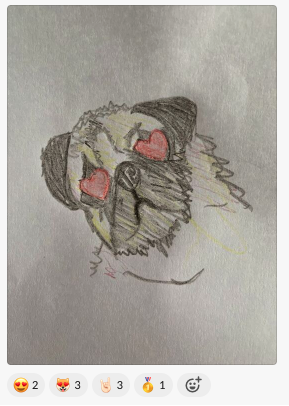 Pug sketch where the pug has hearts for eyes