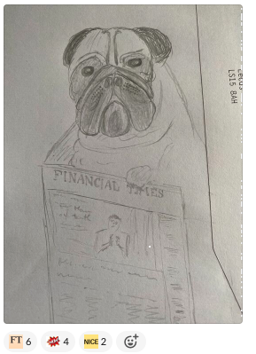 Sketch of a pug reading a newspaper