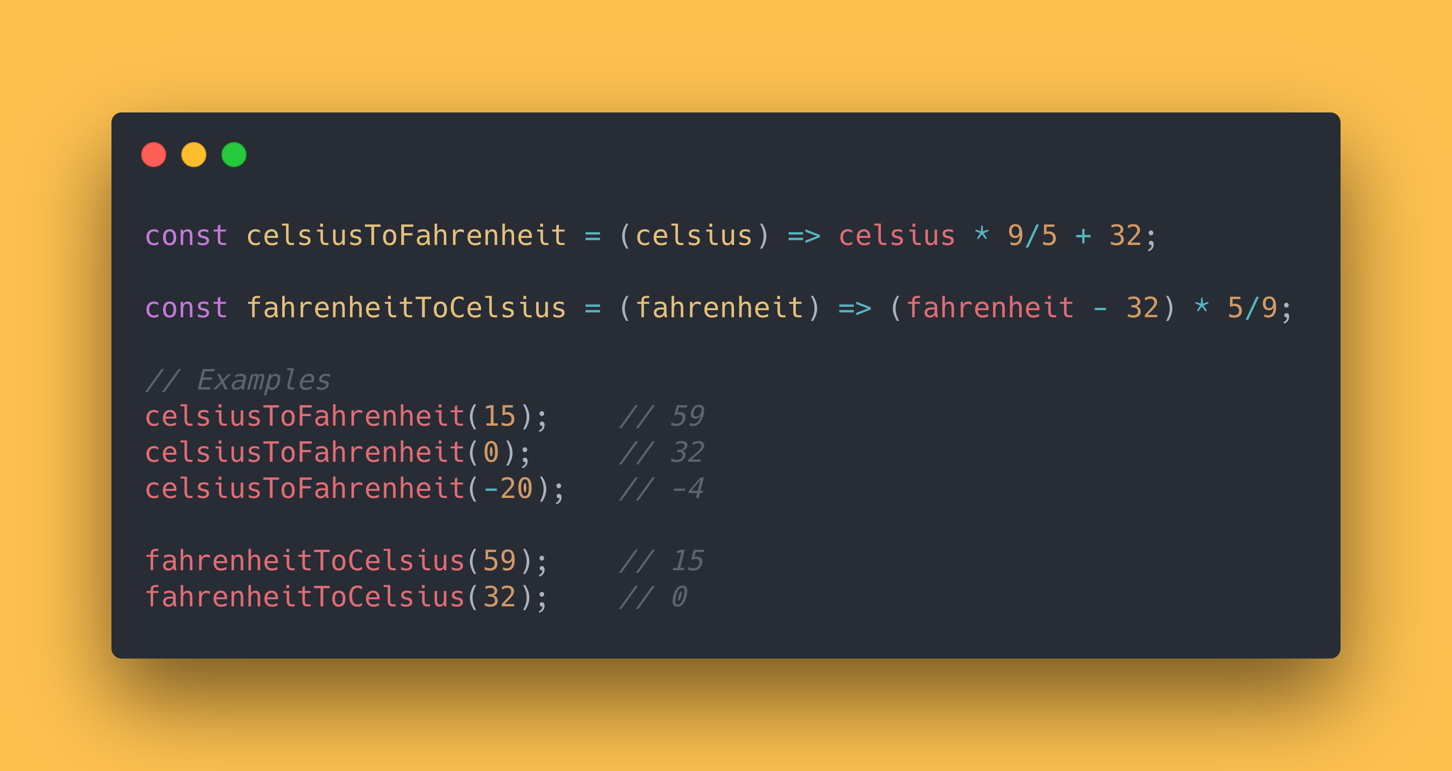 JS code block showing how to convert Fahrenheit to Celsius and the other way around.