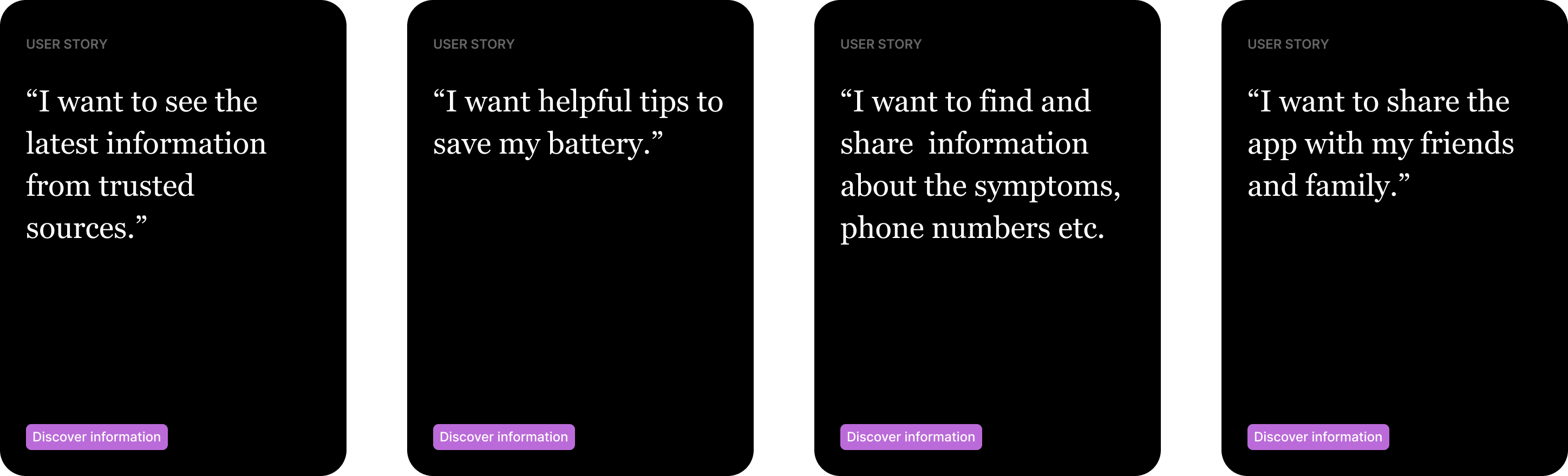 User stories describing various features which could be added at a later date