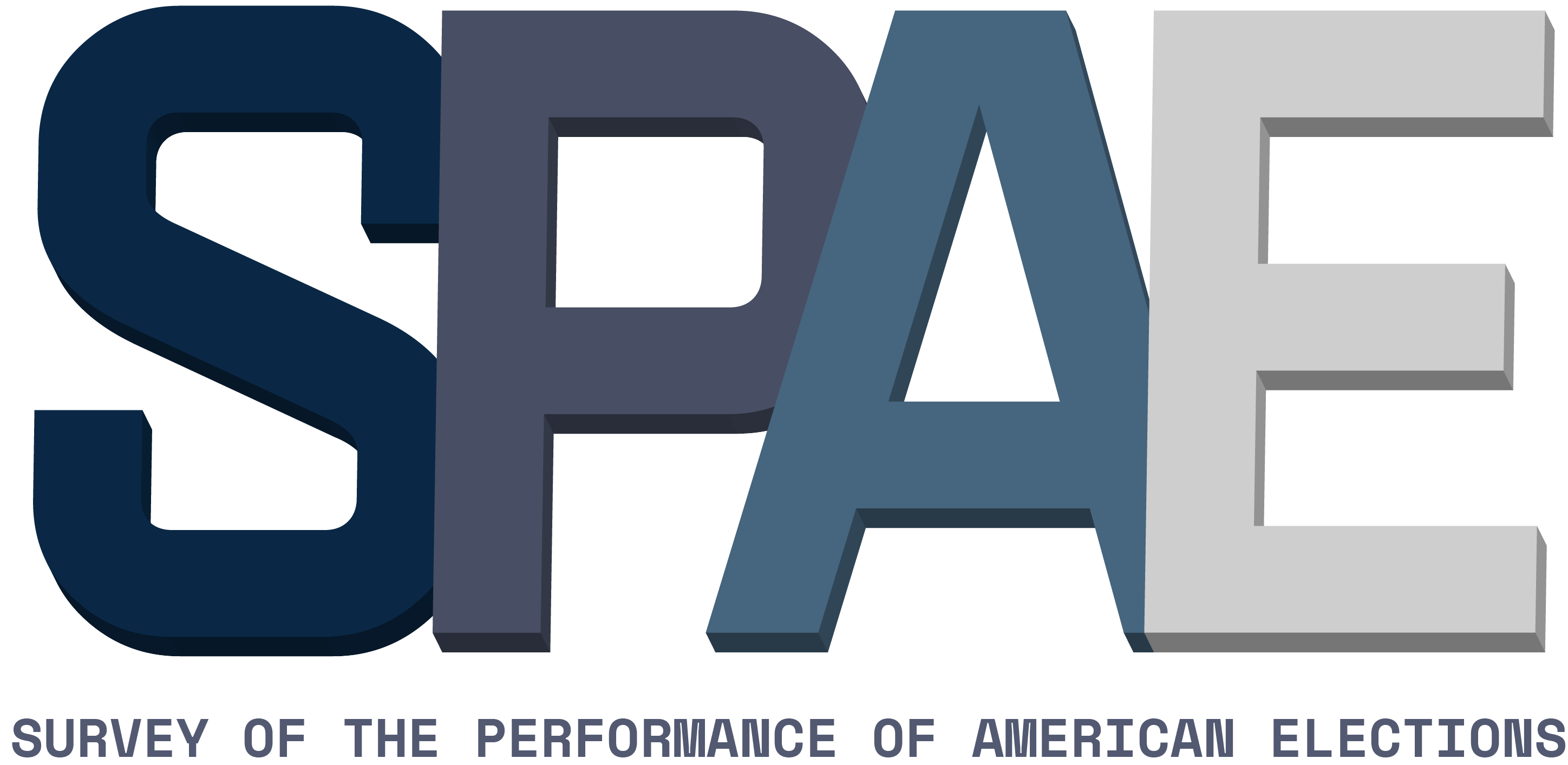 Grey gradient text spells out SPAE in large blocky letters. Below, smaller letters read Survey of the Performance of American Elections.