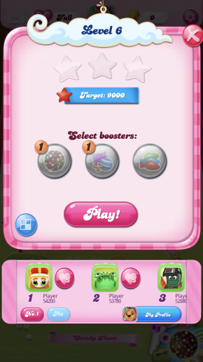 The level screen which contains a built in leaderboard