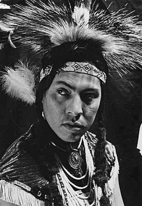 A portrait of Joe Medicine Crow wearing traditional clothing