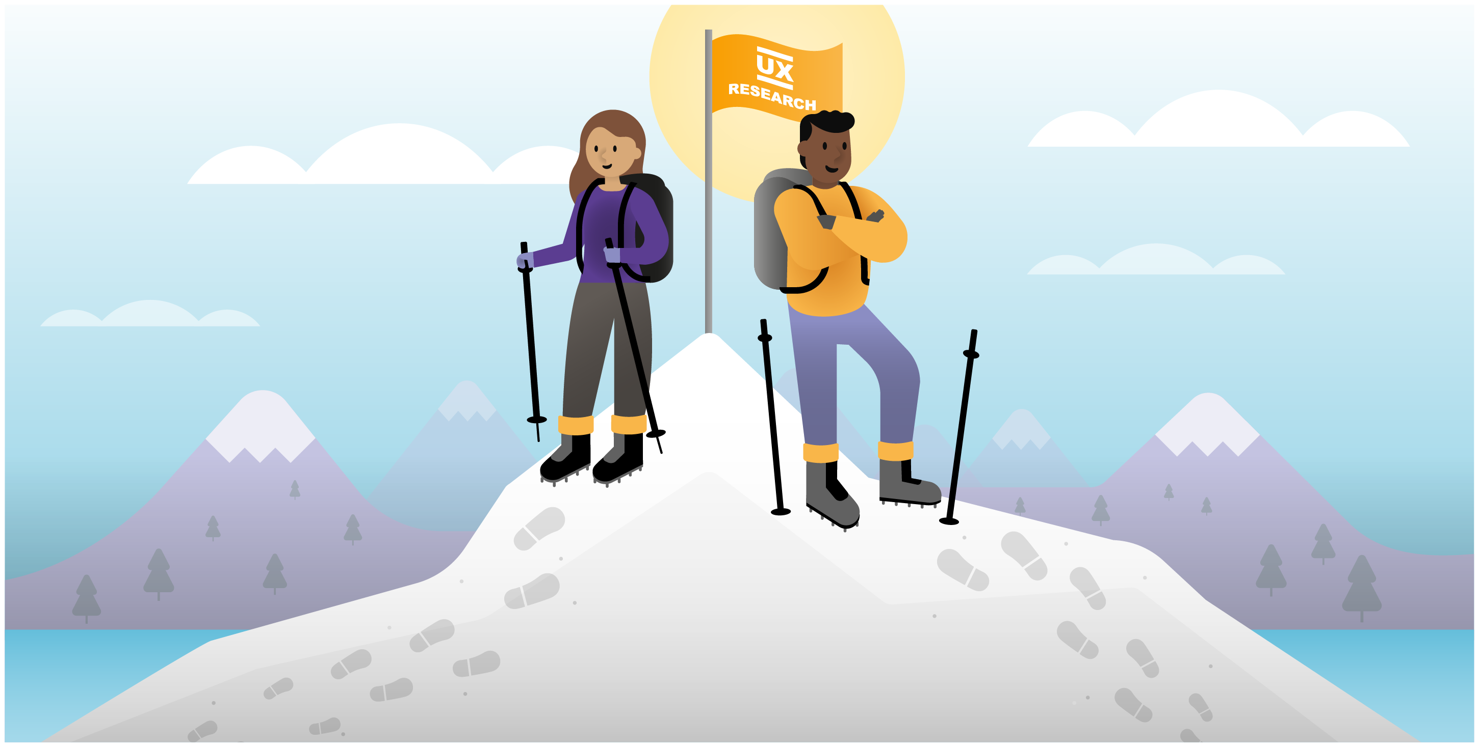 """A woman and man in hiking gear stand at the top of a mountain, next to a flag that reads """"UX Research."""""""