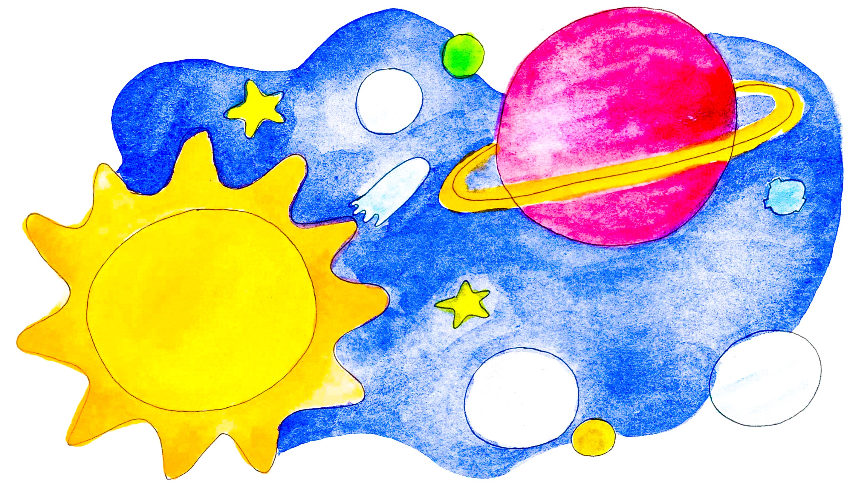 Drawing of a solar system
