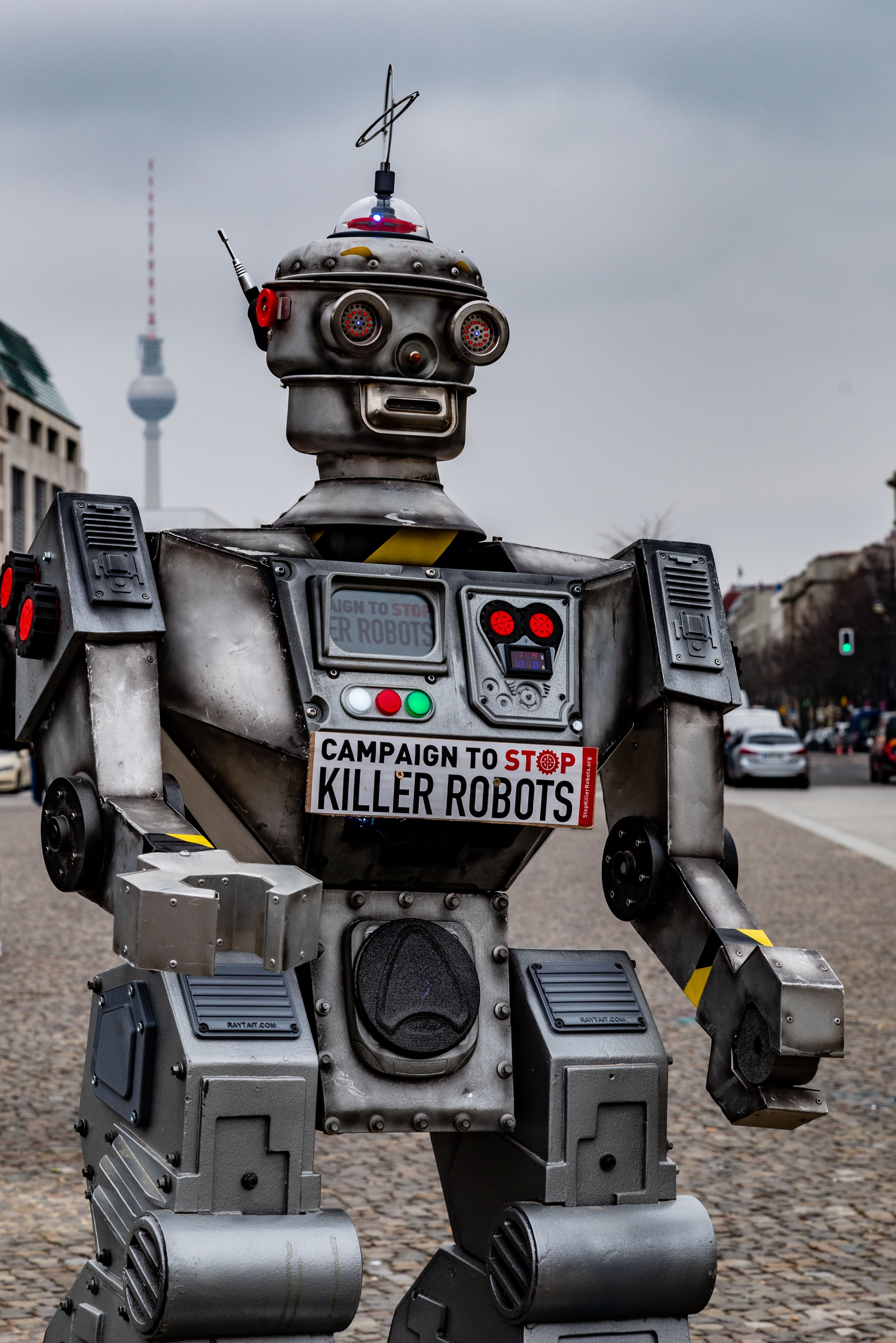 vintage looking robot with the Campaign to Stop Killer Robots logo on it's chest.