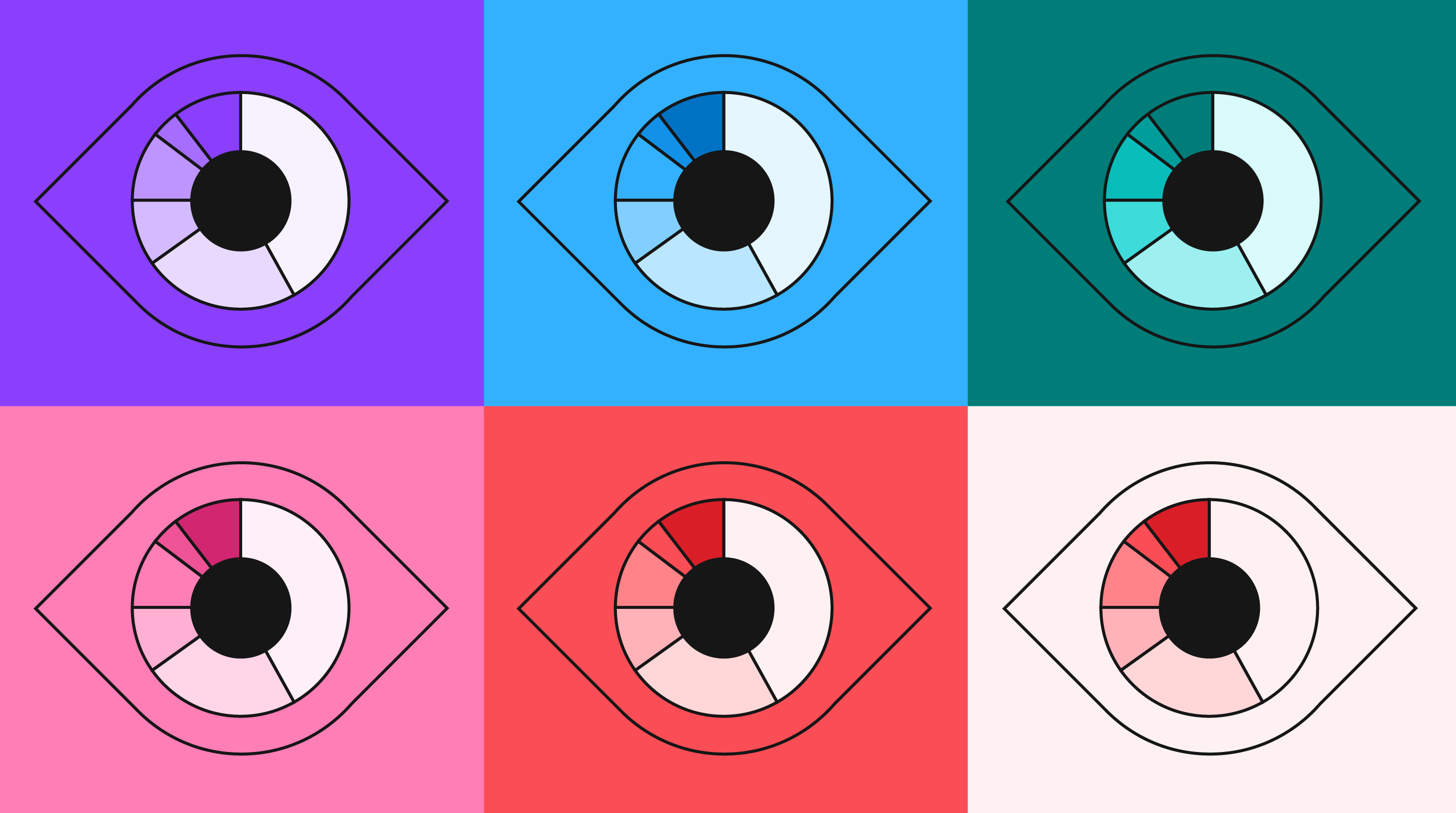 An illustration showing a grid of 6 images of the same eye in colors from the categorical palette.