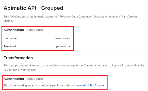 Auto-generated sections in Postman if authentication is properly setup