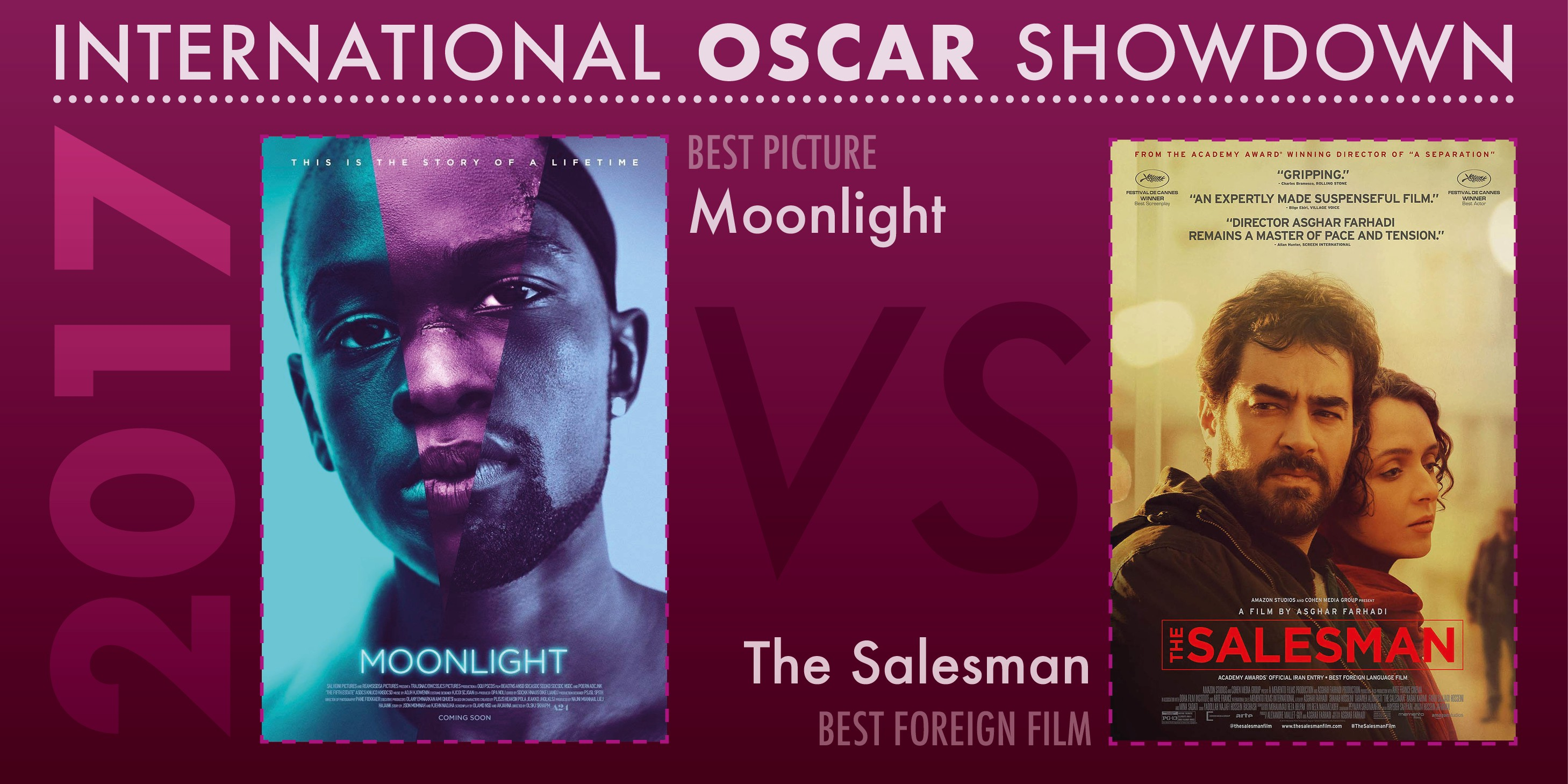 The 89th Academy Awards winners for Best Picture and Best International Feature Film were Moonlight and The Salesman