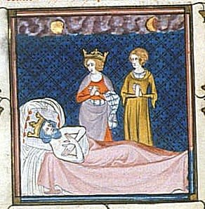 A medieval image depicting the death of the Hammer.