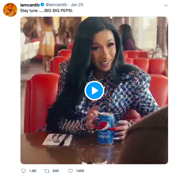 Pepsi Partners With Cardi B Cardi B Rose To Fame Quickly In 2017