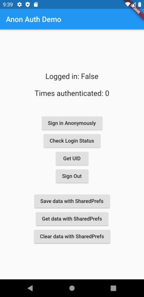Uninstalling the app has removed our Firebase anonymous authentication session (as expected)