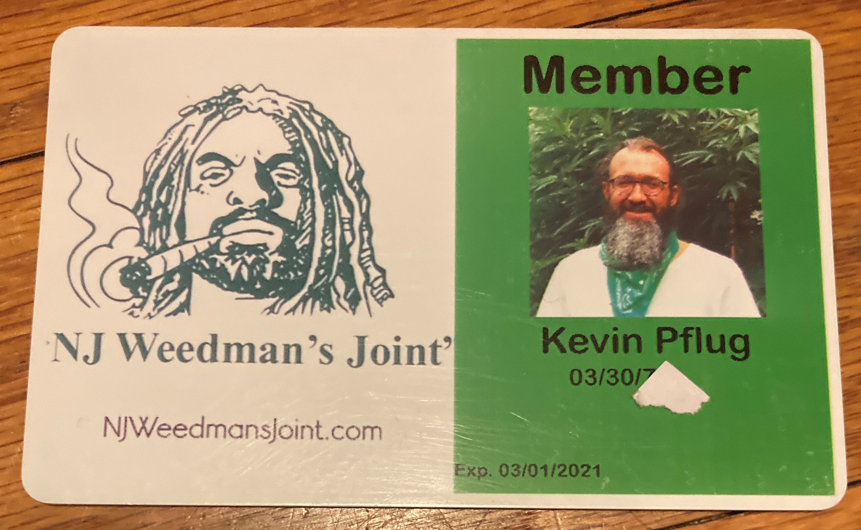 The author's member card for NJ Weedman's Joint and Liberty Bell Temple