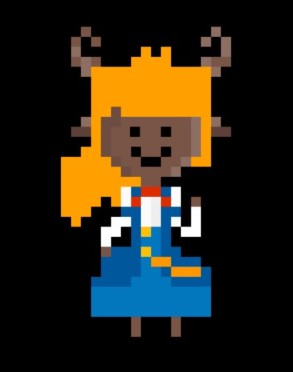 Pixel art of Myla, a friendly looking person with antlers.