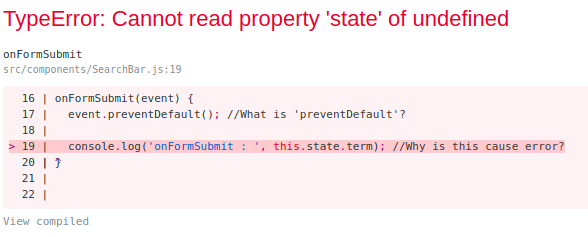 TypeError: Cannot read property state of undefined - Michael