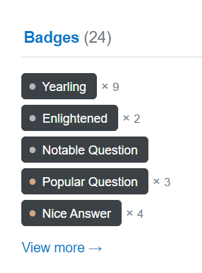 A list of Stack Overflow badges that encourage users to engage with their system in specific ways.