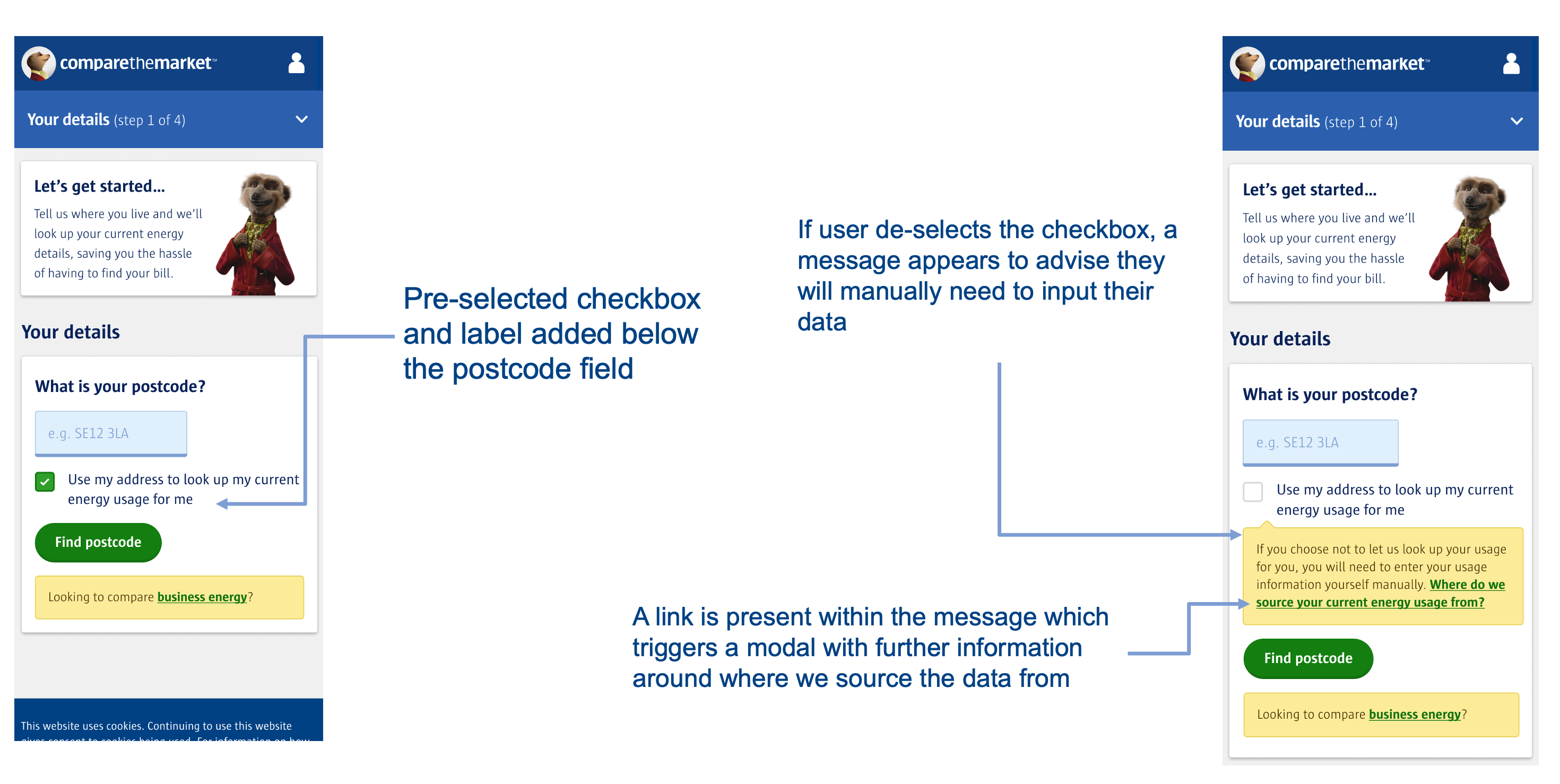 A picture of the second Energy prototype, where a checkbox giving permission for Compare the Market to source the users data has been added, along with some supporting infirmation