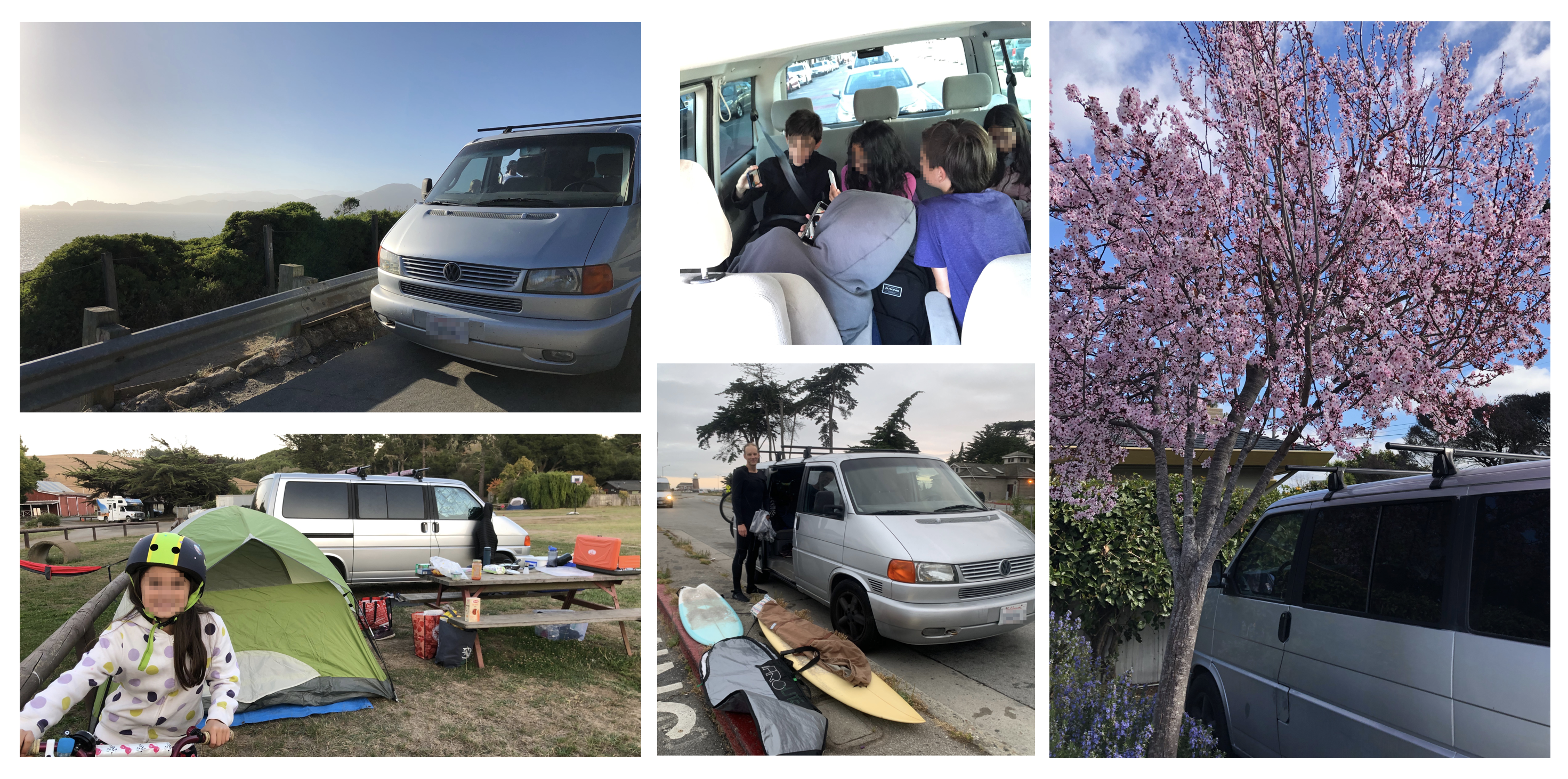 Montage of photos: Vanny at campgrounds, edge of cliff, with surfboards, and filled with kids.
