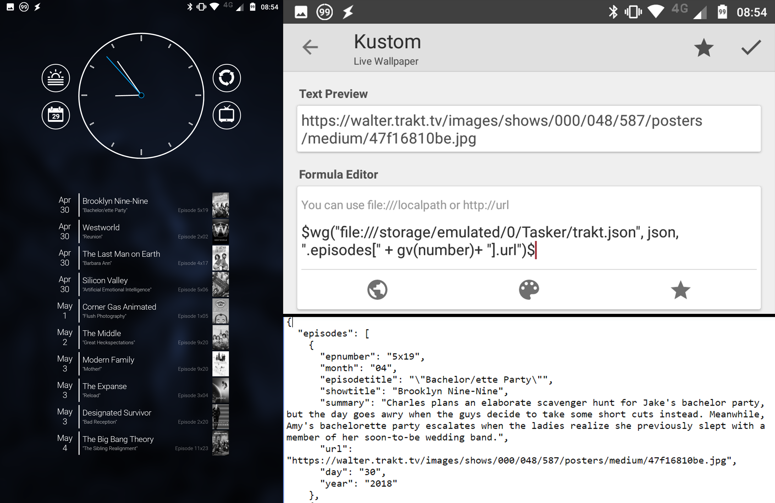 How to use JSON to send large amounts of data to KLWP