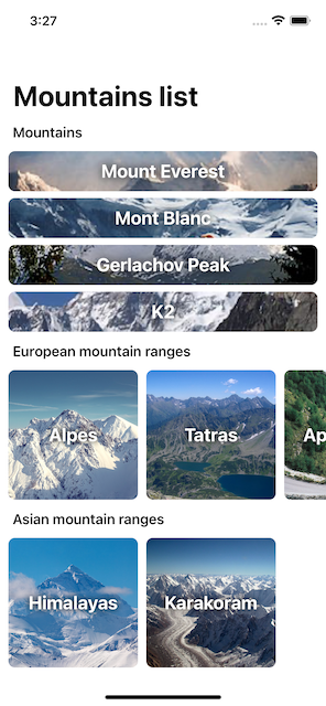 completed mountain app as it appears on an iPhone screen
