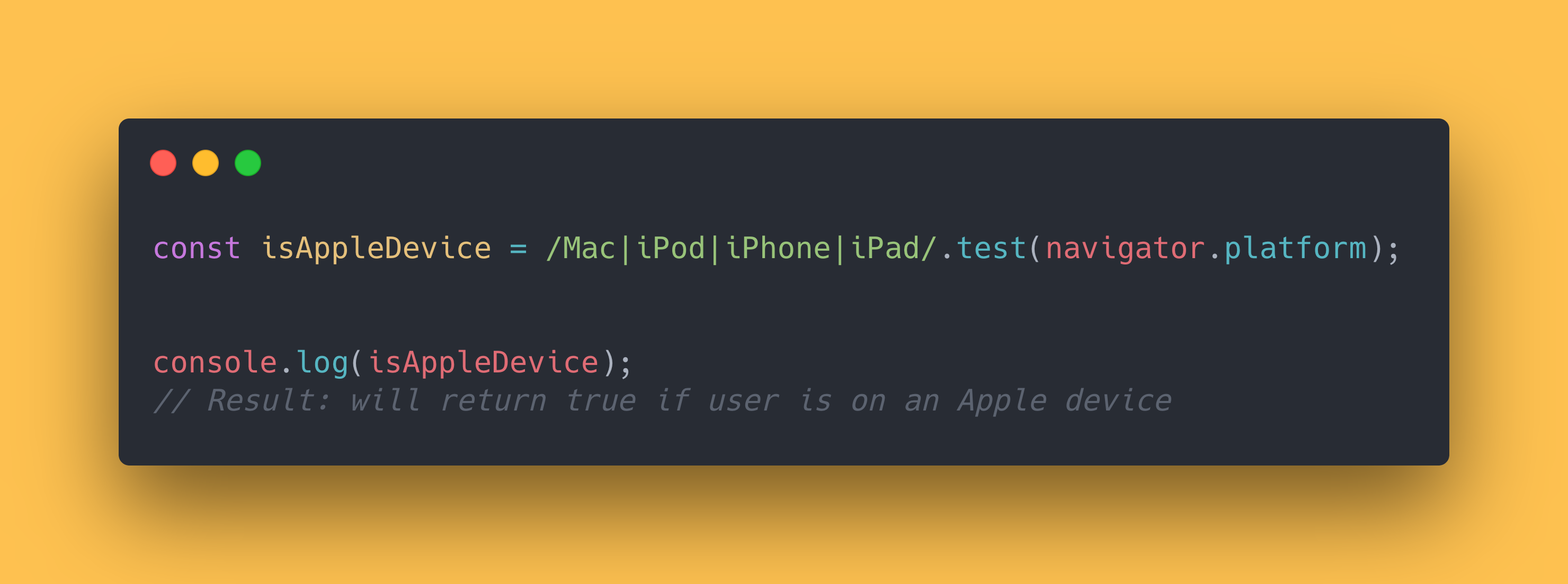 JS code block showing how you can check if the user is currently on an Apple device.
