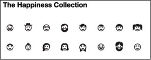 """Smiling icons of faces entitled """"The Happiness Collection"""""""