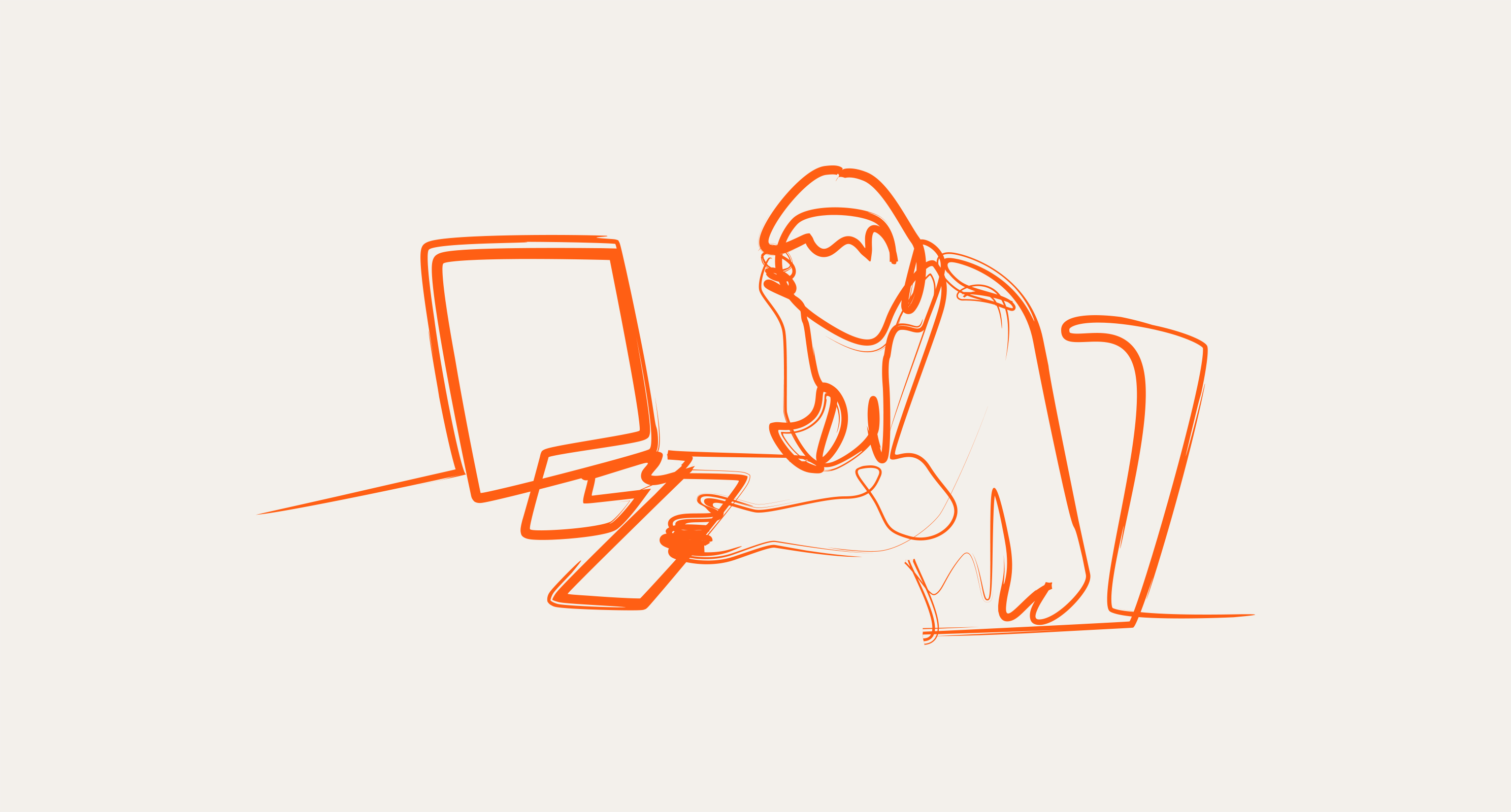 line drawing in orange on cream background with worker at desk, head in hand, in front of computer
