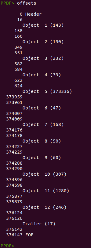 A screenshot of the terminal with peepdf results