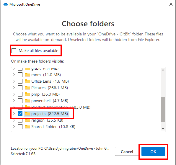OneDrive Sync a folder to your computer
