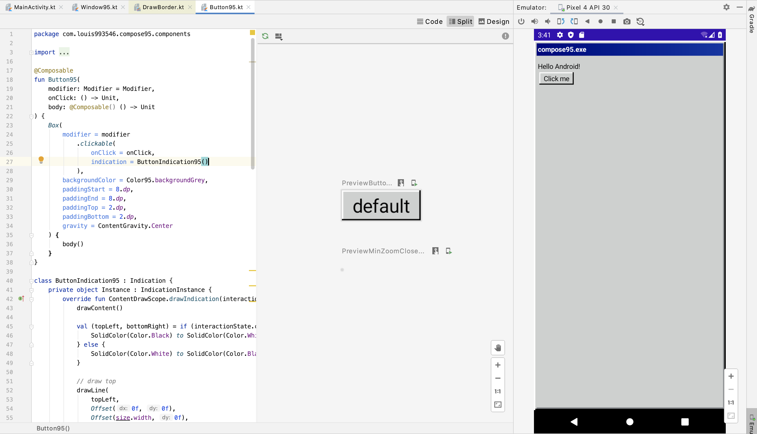 Screenshot of Android Studio, which has code of Button95, Preview of Button95, and an emulator showing what it looks like